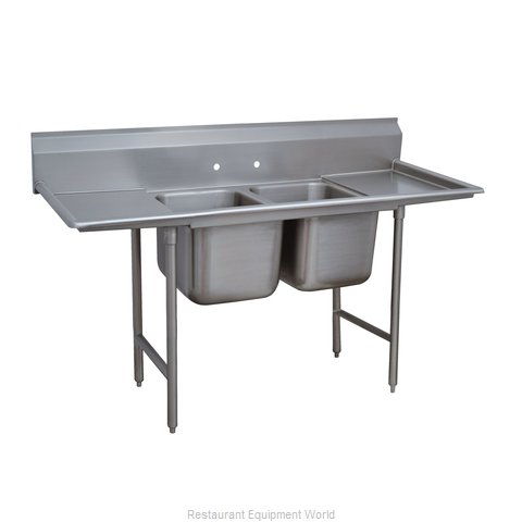 Advance Tabco 9-22-40-24RL Sink 2 Two Compartment
