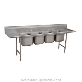 Advance Tabco 9-64-72-24RL Sink, (4) Four Compartment