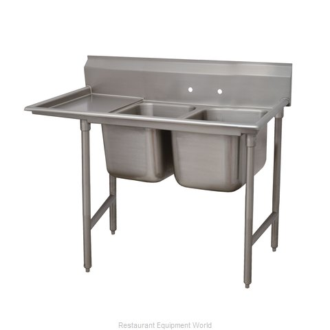Advance Tabco 93-22-40-24L Two Compartment, One Drainboard Sink