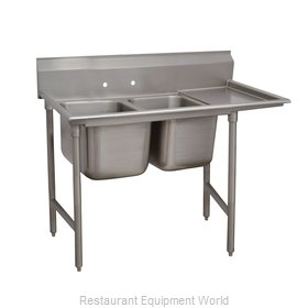 Advance Tabco 93-22-40-24R Two Compartment, One Drainboard Sink