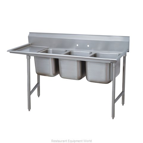Advance Tabco 93-43-72-36L Three Compartment, One Drainboard Sink