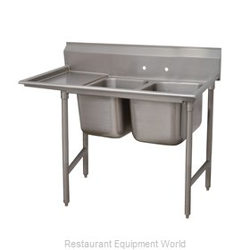 Advance Tabco 93-62-36-36L Two Compartment, One Drainboard Sink