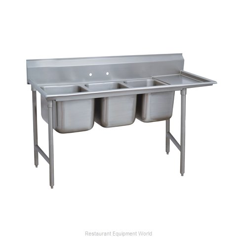 Advance Tabco 93-63-54-24R Three Compartment, One Drainboard Sink