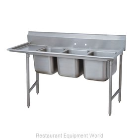 Advance Tabco 93-63-54-36L Three Compartment, One Drainboard Sink