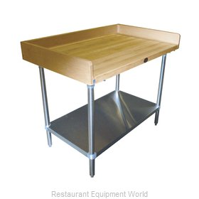 Advance Tabco BS-366 Wood Top Bakers Table - with Coved Risers & Under