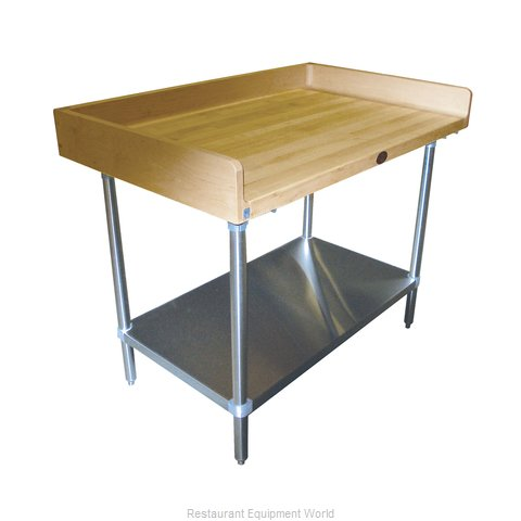Advance Tabco BS-367 Wood Top Bakers Table - with Coved Risers & Under