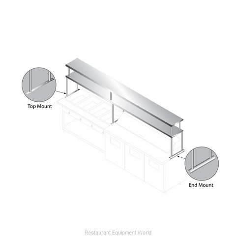 Advance Tabco CU-18-132-2 Overshelf, Table-Mounted