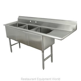 Advance Tabco FC-3-2424-24R-X Sink, (3) Three Compartment