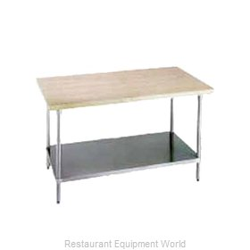 Advance Tabco H2G-364 Wood Top Bakers Table with Undershelf