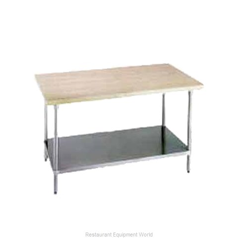 Advance Tabco H2G-368 Wood Top Bakers Table with Undershelf
