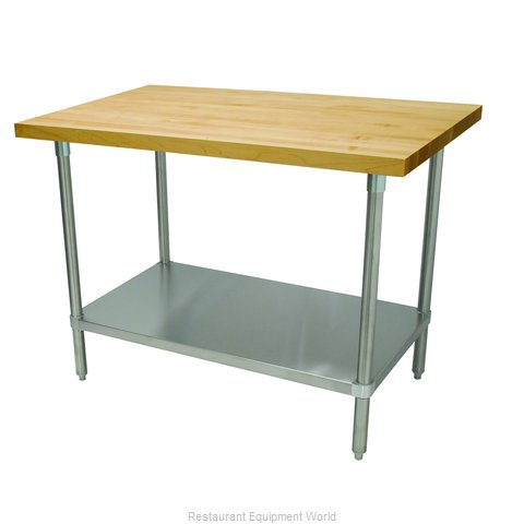 Advance Tabco H2S-304 Wood Top Bakers Table with Undershelf