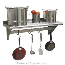 Advance Tabco PS-18-108 Overshelf, Wall-Mounted With Pot Rack