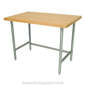 Advance Tabco TH2S-247 Wood Top Bakers Table - Open Base Style