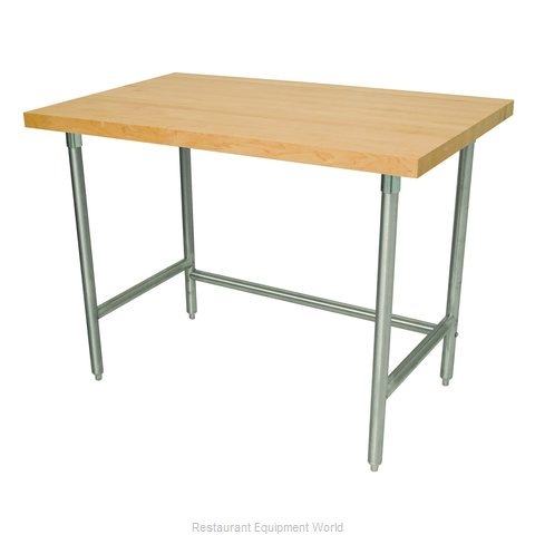 Advance Tabco TH2S-304 Wood Top Bakers Table - Open Base Style