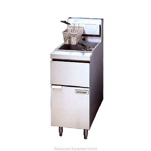 ANETS 14GSF Fryer Floor Model Gas Full Pot (Magnified)