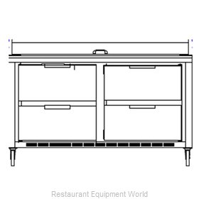 Beverage Air SPED60-08C-4 Refrigerated Counter, Sandwich / Salad Top