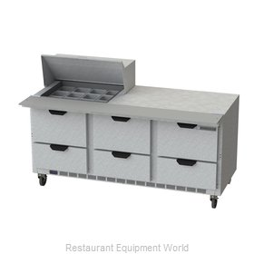 Beverage Air SPED72HC-12M-6 Refrigerated Counter, Mega Top Sandwich / Salad Unit