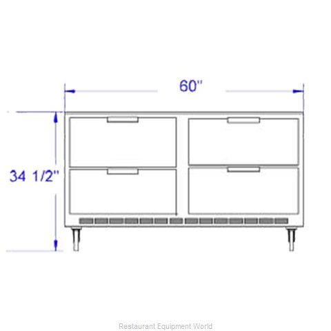 Beverage Air UCRD60A-4 Refrigerator Undercounter Reach-In