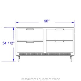 Beverage Air UCRD60A-4 Refrigerator, Undercounter, Reach-In