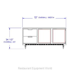 Beverage Air UCRD72A-2 Refrigerator Undercounter Reach-In