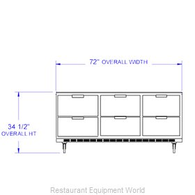 Beverage Air UCRD72A-6 Refrigerator Undercounter Reach-In
