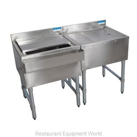 BK Resources BKUB-WS-IBDB-60S Underbar Ice Bin/Cocktail Station, Drainboard