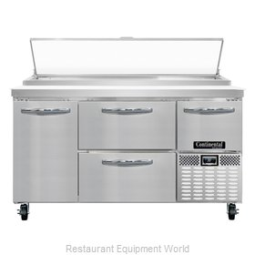 Continental Refrigerator CPA60-D Refrigerated Counter, Pizza Prep Table