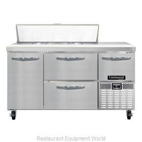 Continental Refrigerator CRA60-12-D Refrigerated Counter, Sandwich / Salad Top