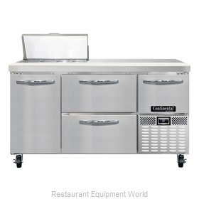 Continental Refrigerator CRA60-8-D Refrigerated Counter, Sandwich / Salad Top
