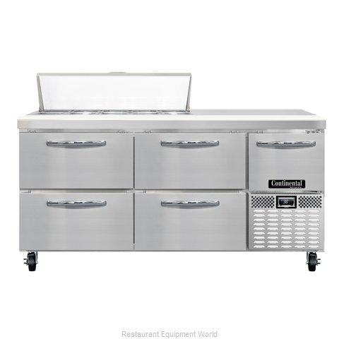 Continental Refrigerator CRA68-10-D Refrigerated Counter, Sandwich / Salad Top