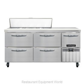 Continental Refrigerator CRA68-12-D Refrigerated Counter, Sandwich / Salad Top