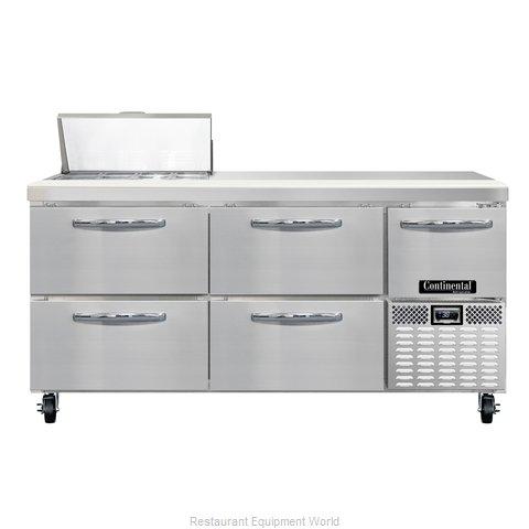 Continental Refrigerator CRA68-8-D Refrigerated Counter, Sandwich / Salad Top