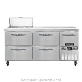 Continental Refrigerator CRA68-8-D Refrigerated Counter, Sandwich / Salad Top