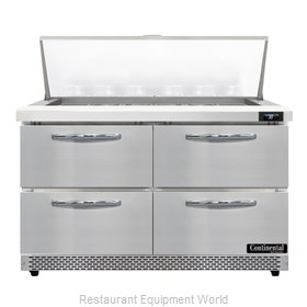 Continental Refrigerator D48N18M-FB-D Refrigerated Counter, Mega Top Sandwich /