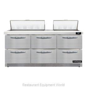 Continental Refrigerator D72N18-FB-D Refrigerated Counter, Sandwich / Salad Unit