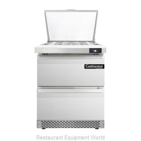 Continental Refrigerator DL27-12M-FB-D Refrigerated Counter, Mega Top Sandwich /