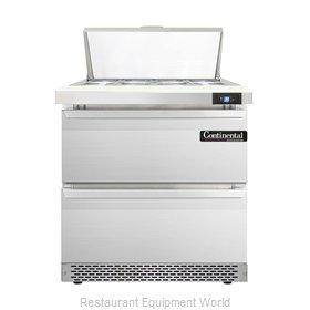 Continental Refrigerator DL32-8-FB-D Refrigerated Counter, Sandwich / Salad Top