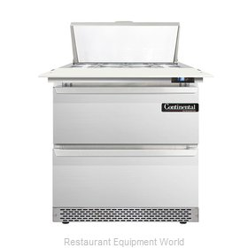 Continental Refrigerator DL32-8C-FB-D Refrigerated Counter, Sandwich / Salad Top