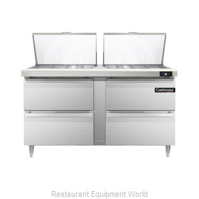 Continental Refrigerator DL60-24M-D Refrigerated Counter, Mega Top Sandwich / Sa