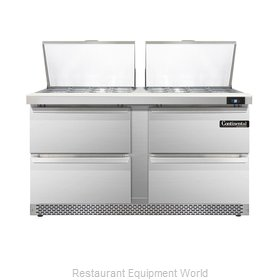 Continental Refrigerator DL60-24M-FB-D Refrigerated Counter, Mega Top Sandwich /