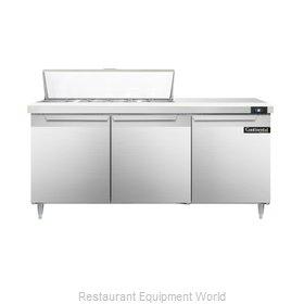 Continental Refrigerator DL72-12 Refrigerated Counter, Sandwich / Salad Top