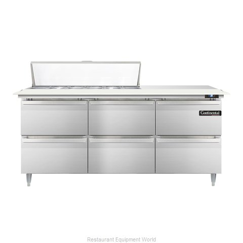 Continental Refrigerator DL72-12C-D Refrigerated Counter, Sandwich / Salad Top