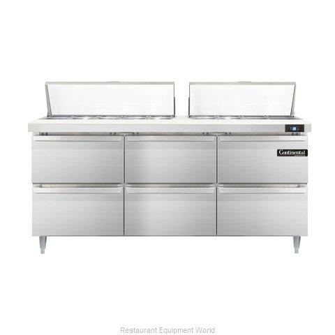Continental Refrigerator DL72-18-D Refrigerated Counter, Sandwich / Salad Top
