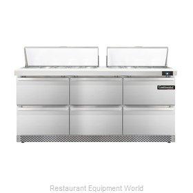 Continental Refrigerator DL72-18-FB-D Refrigerated Counter, Sandwich / Salad Top