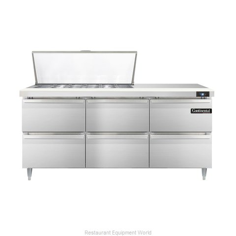 Continental Refrigerator DL72-18M-D Refrigerated Counter, Mega Top Sandwich / Sa