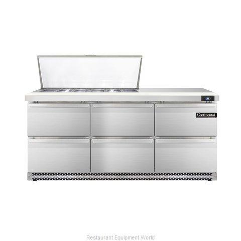 Continental Refrigerator DL72-18M-FB-D Refrigerated Counter, Mega Top Sandwich /