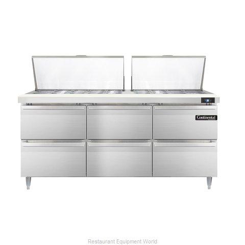 Continental Refrigerator DL72-27M-D Refrigerated Counter, Mega Top Sandwich / Sa
