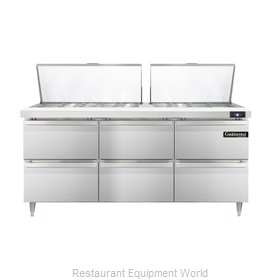 Continental Refrigerator DL72-27M-D Refrigerated Counter, Mega Top Sandwich / Sa