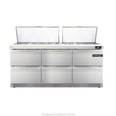 Continental Refrigerator DL72-27M-FB-D Refrigerated Counter, Mega Top Sandwich /