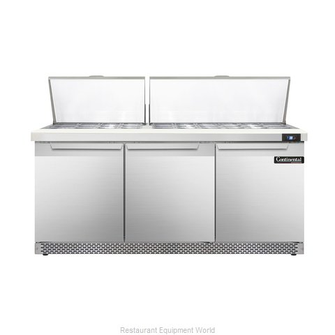 Continental Refrigerator DL72-30M-FB Refrigerated Counter, Mega Top Sandwich / S